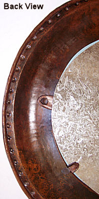 Oval Hammered Copper Mirror Details
