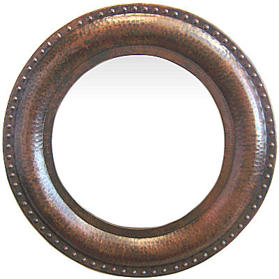 Round Hammered Copper Mirror