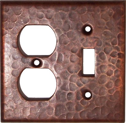 Duplex-Toggle Hammered Copper Wall Plate