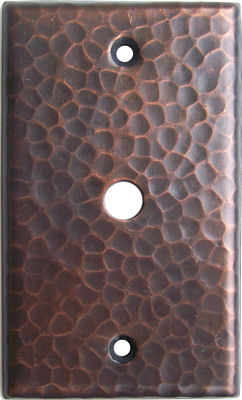 TV Cable Hammered Copper Wall Plate