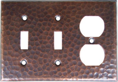 Double Switch-Outlet Hammered Copper Switch Plate
