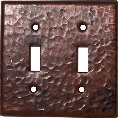 Double Toggle Hammered Copper Switch Plate