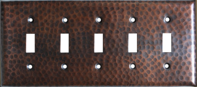 Quintuple Switch Hammered Copper Switch Plate