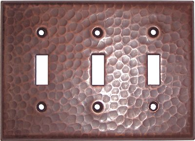 Triple Toggle Hammered Copper Switch Plate