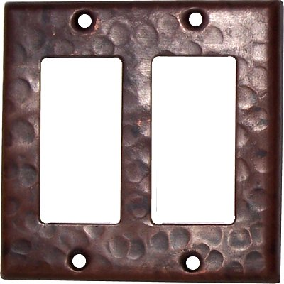 Double Decora Hammered Copper Switch Plate