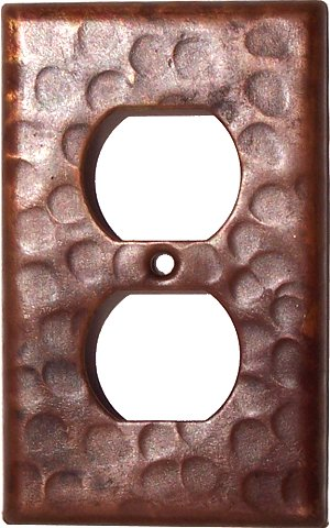 Duplex Outlet Hammered Copper Wall Plate