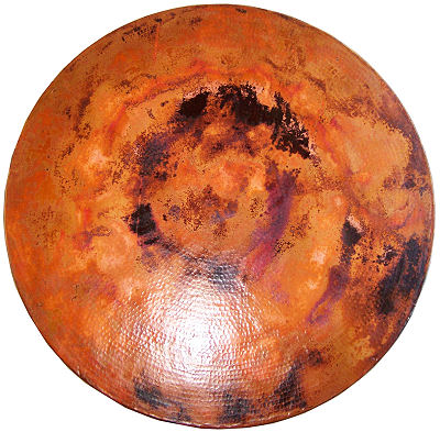 Big Round Hammered Copper Table Details