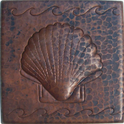 Shell Hammered Copper Tile