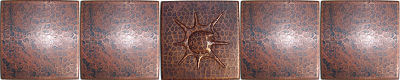 Snail II Hammered Copper Tile Close-Up