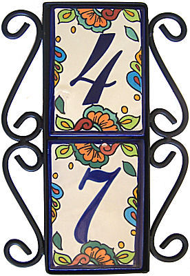 Wrought Iron Vertical House Number Frame Hacienda 2 Close-Up