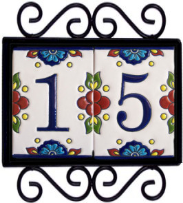 Wrought Iron House Number Frame Mission 2 Close-Up