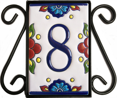 Wrought Iron House Number Frame Mission 1 Close-Up