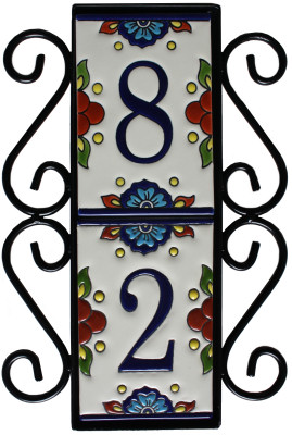 Wrought Iron House Number Vertical Frame Mission 2 Close-Up