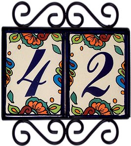 Wrought Iron House Number Frame Hacienda 2 Close-Up