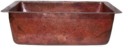 Natural Color Bottom-Rounded Hammered Copper Kitchen Sink