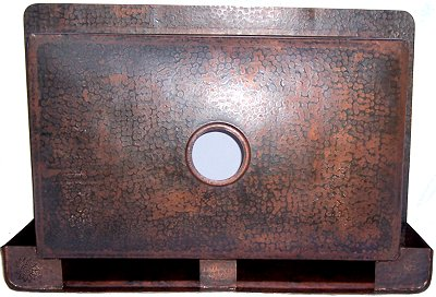 Embossed Farmhouse Hammered Kitchen Copper Sink Details
