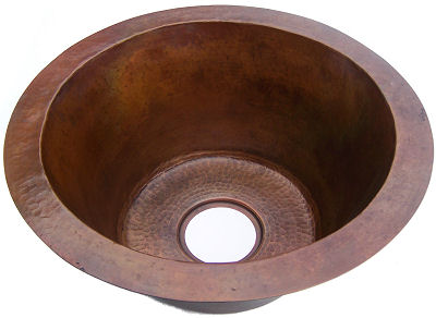 Terra Undermount Hammered Round Bar Copper Sink Close-Up