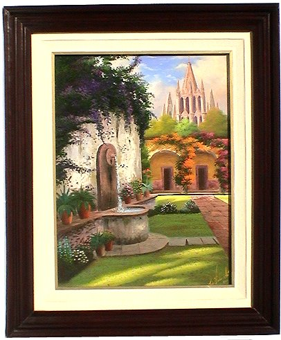 Patio Fountain. Mexican Contemporary Oil Painting