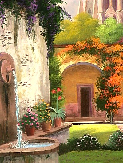 Patio Fountain. Mexican Contemporary Oil Painting Close-Up