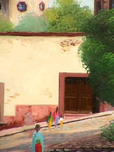Saint Loreto House. Mexican Contemporary Oil Painting Close-Up