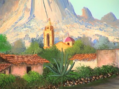 Bernal Rock, Qro. M?xico. Mexican Contemporary Oil Painting Close-Up