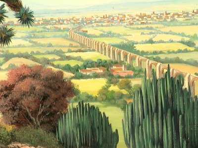 Aqueduct. Mexican Oil Painting Close-Up