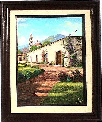 Road to the Church. Mexican Contemporary Oil Painting
