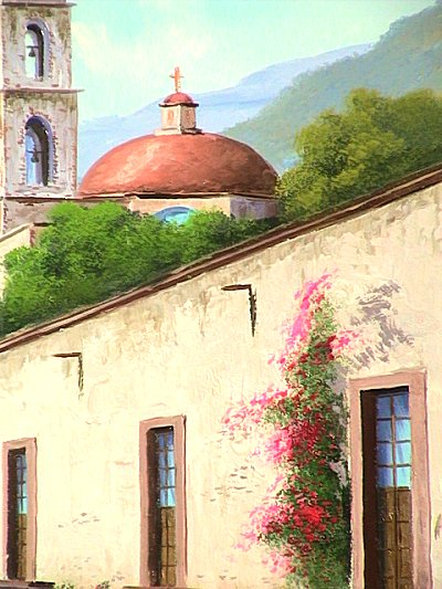 Road to the Church. Mexican Contemporary Oil Painting Close-Up