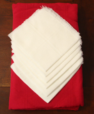 Round Mexican Pink Tablecloth 6 Napkins