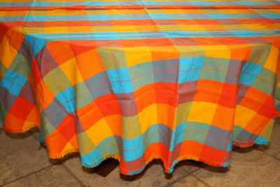 Multicolor Round Mexican Tablecloth 6 Napkins Close-Up