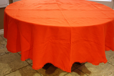 Round Orange Mexican Tablecloth 6 Napkins Close-Up