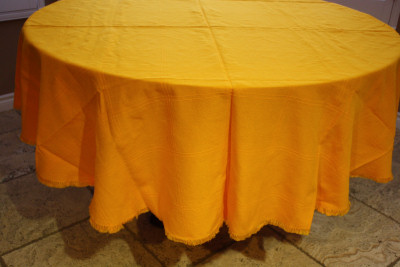 Round Mexican Yellow Tablecloth 6 Napkins Close-Up