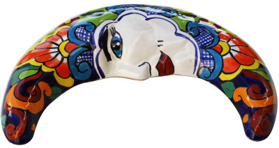 Mexican Talavera Ceramic Moon Face Close-Up