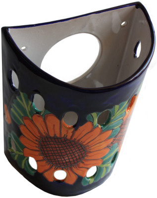 Sunflower Talavera Ceramic Sconce Close-Up
