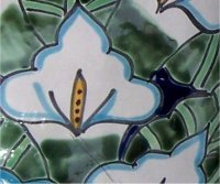 Lily Flower Talavera Ceramic Bathroom Set Close-Up