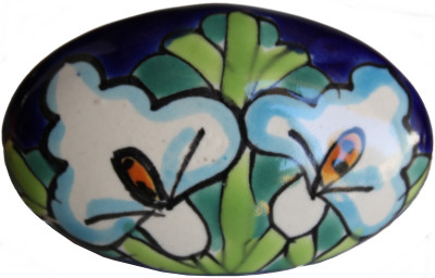 Oval Lily Talavera Ceramic Drawer Knob