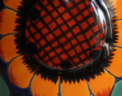 Sunflower Talavera Round Flower Vase Close-Up