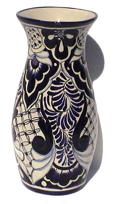 Talavera Blue Round Flower Vase Close-Up