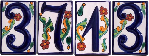 Colonial Talavera Ceramic House Number Four Details