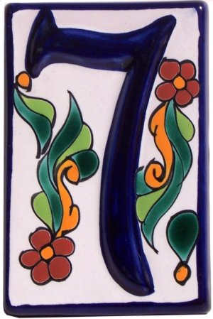 Colonial Talavera Ceramic House Number Seven