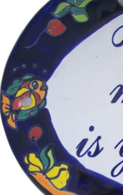 Fish Talavera Ceramic House Plaque. Welcome my house is your house Close-Up