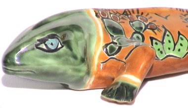 Desert Garden Ceramic Iguana Close-Up