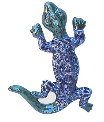 Tiny Blue Garden Ceramic Lizard