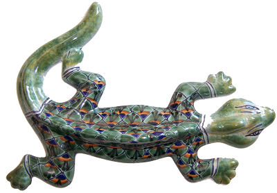 Green Peacock Garden Ceramic Lizard