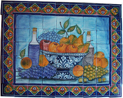 Fruit Bowl Bodegon. Clay Talavera Tile Mural