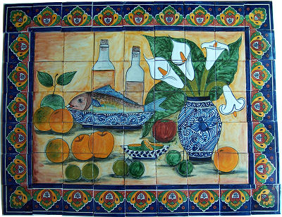 Fish Bodegon. Clay Talavera Tile Mural