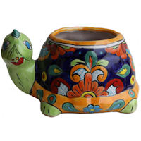 Multicolor and Green Turtle Talavera Planter