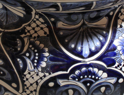 Huge Blue/White Talavera Ceramic Pot Close-Up