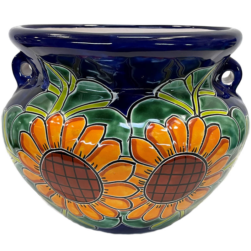 Small Sunflower Talavera Ceramic Pot