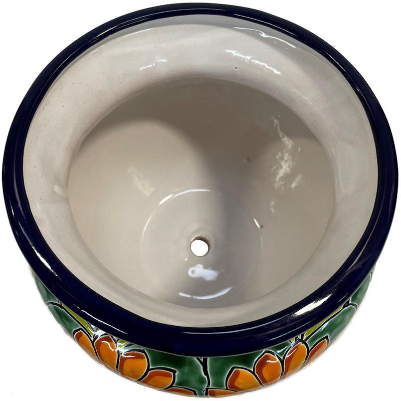 Small Sunflower Talavera Ceramic Pot Close-Up